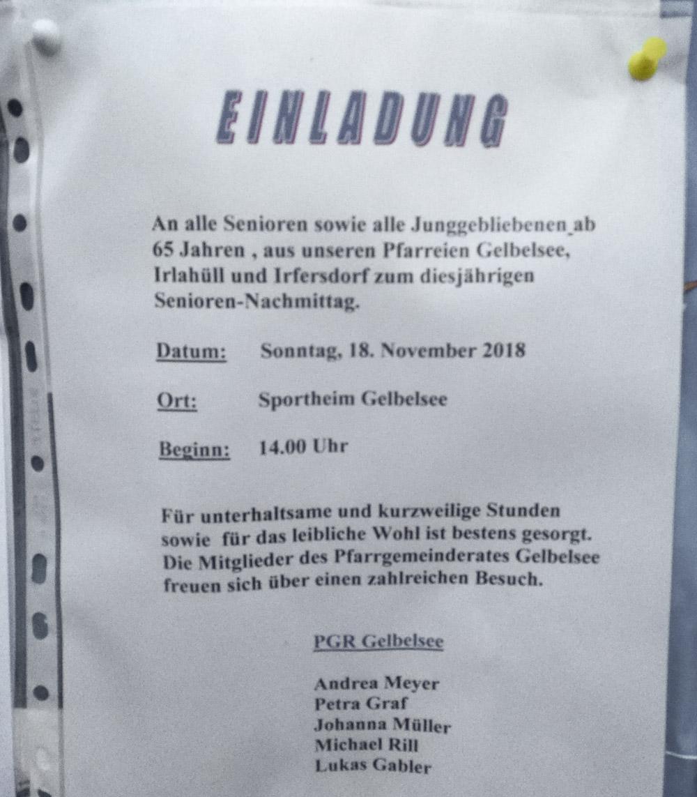 Seniorennachmittag (Pfarrgemeinde) @ Sportheim Gelbelsee